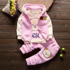 Baby Girl Bear Clothing Set [3M-4T] 39.99 CAD Toddler Boy Outfits, Baby Outfits Newborn, Baby Boy Clothing Sets, Children Clothing, Bear Clothing, Infant Clothing, Pull Bebe, Kids Suits, Winter Kids