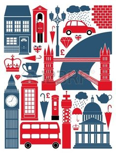 A set of London symbols and landmarks  Stock Vector