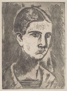 Carlo Carrà, Testa di Ragazzo (Head of a Boy), 1919, etching, Pepita Milmore Memorial Fund