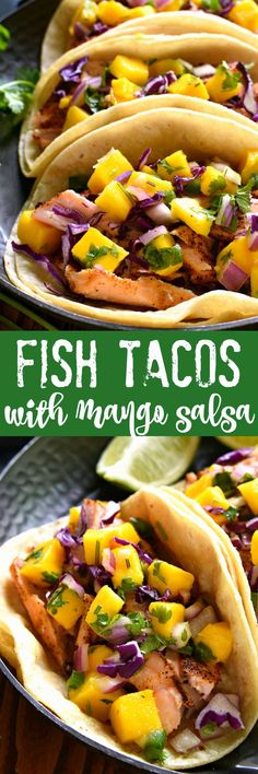 Fish tacos combine the deliciousness of salmon with the tropical flavors of mango salsa! These salmon tacos are super easy to make and perfect for the warmer months ahead. The fish tacos recipe is sure to become a new favorite! Salmon Recipes, Fish Recipes, Seafood Recipes, Mexican Food Recipes, Dinner Recipes, Cooking Recipes, Healthy Recipes, Ethnic Recipes, Tilapia Recipes