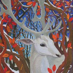 White Stag by Melissa Launay, Fine Art Greeting Card, Gouache on Paper, A white stag in the woods
