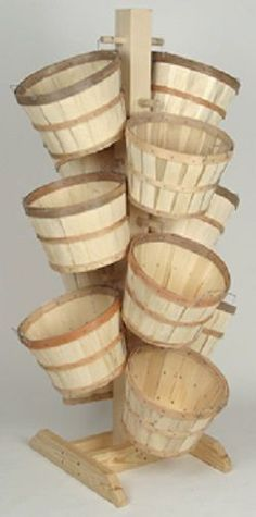 Tall Wood Tree Display Rack with 12 Half Bushel Baskets - Natural Wood #AvisBAg