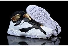 new product 5335e a19f9 Womens Air Jordan 7 AJ7 Jordan 7 Gs Basketball Shoes A+ PU Leather Black  White Golden