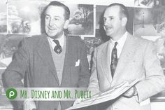 Publix founder, George Jenkins, and Walt Disney, founder of The Walt Disney Company, are pictured together in this 1947 photograph. Two men who changed Florida forever.