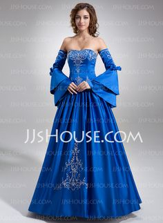 Ball-Gown Sweetheart Floor-Length Satin Quinceanera Dress With Embroidered Beading (021002843) £155.39