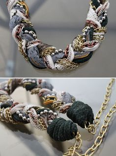DIY : Necklaces with scrap fabrics, chain, ribbon etc.