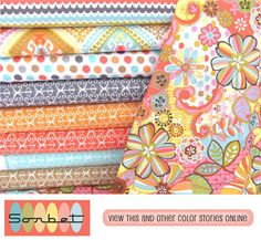 michael miller fabrics...SORBET~! Yeah for sorbet!  Makes me want to play.