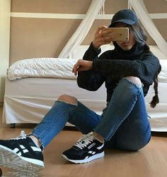 @benitathediva  Reebok kicks, trucker hat, tumblr outfits, baddie outfit, fall outfit, all black, cute lazy outfit, cute comfy clothes.