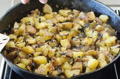 Basic Breakfast Potatoes.  The Pioneer Woman does it again!    I only had teeny baby red potatoes, so I sliced them in half after boiling.  I used olive oil/butter mixture for the skillet frying.