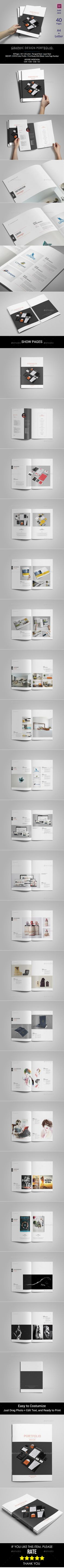 Graphic Design Portfolio Template  —  InDesign Template • Only available here! →…