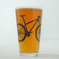 MOUNTAIN BIKE PINT glasses screenprinted bike glassware by vital
