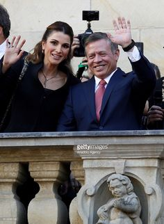 Queen Rania(L) and King Abdullah II bin Al-Hussein of Jordan are seenafter a ceremony where King Abdullah II bin Al-Hussein received the International Westphalian Peace Prize 2016 in Munster, Germany on October 8, 2016.  (Photo by Leon Kuegeler/Anadolu Agency/Getty Images)