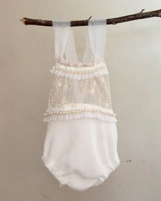 """Baby Sitter Romper """"Amy"""" Sun Play Suit Vintage Style Chiffon Pearl Trim Photography Prop by PixeyDustPhotoProps on Etsy"""
