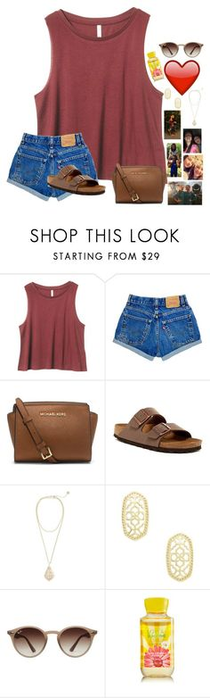 """~i miss you already❤️❤️~"" by taybug2147 ❤ liked on Polyvore featuring Michael Kors, Birkenstock, Kendra Scott and Ray-Ban"