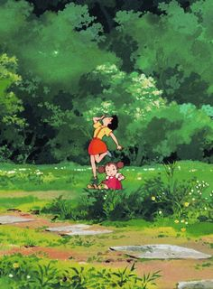 My Neighbor Totoro the two sisters~ reminds me of my sister and I when we were little ^^