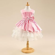 Girl's Round Collar Bow Patchwork Party Dress (More Colors) – USD $ 25.00