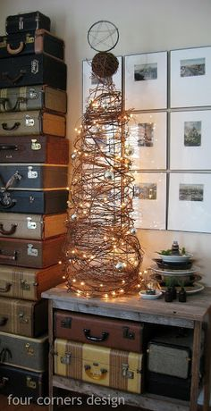 Christmas Tree made out of a tomato cage and vine