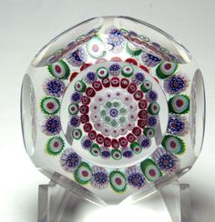 Antique Baccarat Faceted Four Row Concentric Millefiori Paperweight.   Probably Circa 1845-1860.