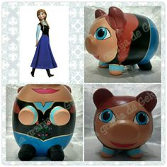 Ana (frozen) Little Kitty, My Little Pony, Ana Frozen, Personalized Piggy Bank, Pebble Painting, Clay Pots, Artsy Fartsy, Minions, Decoupage