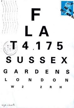 Harriet Russell, mail art. Eye chart...