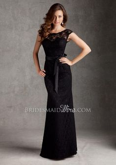 lace black cap sleeve boat neck floor length v back slim bridesmaid dress.  Various colors. $45 is for shade and lunch,