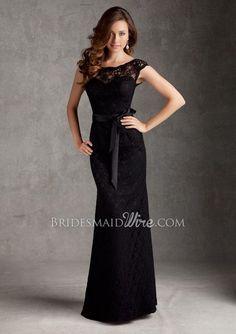 lace black cap sleeve boat neck floor length v-back slim bridesmaid dress