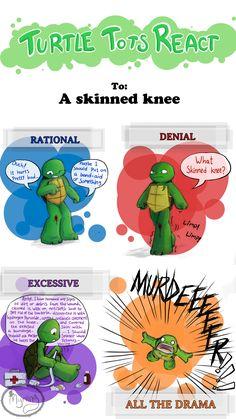 Turtle Tots React - Skinned knee by Myrling.deviantart.com on @DeviantArt