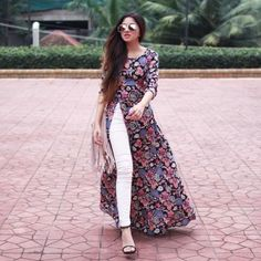Floral open dress with white jeans-Mix and match summer casual wear – Just Trendy Girls