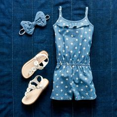 Girls' fashion | Kids' clothes | Chambray romper | Bow headwrap | Flower sandals | The Children's Place