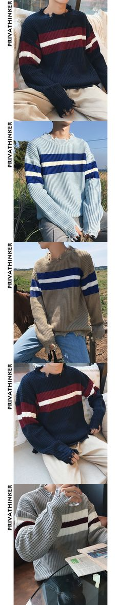 Privathinker Ripped Sweater Men Women Long Sleeve Winter Warm Pullover Men Autumn Knitted Male Sweaters Korean Style