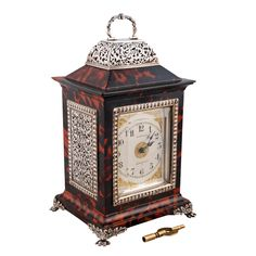 Tortoise Shell & Silver Mantle Clock