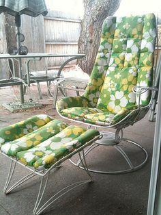 mid century vintage homecrest patio lawn furniture chairs glider
