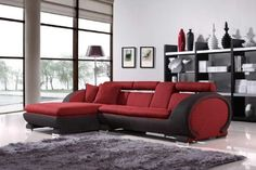 Vig Furniture 1088B - Red Fabric Section...