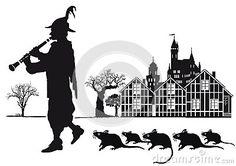 Joueur de pipeau pie de ville de Hamelin avec des rats