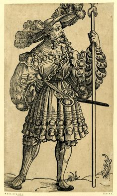 Full: Front A Landsknecht holding a spear; From a series of fifty woodcuts. Sheet trimmed at top. Woodcut © The Trustees of the British Museum Renaissance Clothing, Historical Clothing, British Museum, Mens Garb, German Outfit, Landsknecht, German Fashion, 16th Century, Middle Ages