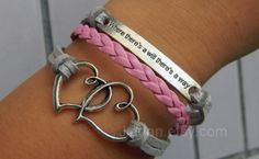 mutual affinity Bracelet#bronze soulmate#inspirational# gray and pink braided bracelet# lovely leather bracelets#where there's a will there's a way#
