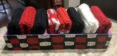 Qty of 8 Handmade Reds Blacks and Whites Washcloths / Dishcloths in Handpainted Wood box Holder