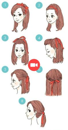 Easy Everyday Hairstyles Step By Step For Girls diy hairstyles easy Kawaii Hairstyles, Pretty Hairstyles, Braided Hairstyles, Braided Updo, Prom Hairstyles, Ribbon Hairstyle, Updo Hairstyle, Easy Everyday Hairstyles, Hairstyles For Short Hair Easy
