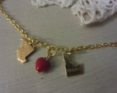 Love this idea! Long Distance Love Brass State Charm Necklace