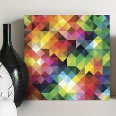 quadro decorativo triangles colors