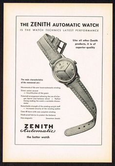 Vintage 1949 Zenith Automatic Watch Paper Print Ad. #zenith #automatic #vintage #watches #watch #ad #ads #classic #stawc