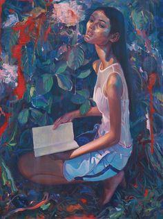 """Della. Acrylic and Oil on Canvas, 36 x 48"""", 2014."""
