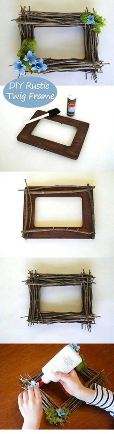 A great way to celebrate spring! This rustic twig frame is a great afternoon crafts project for the kids and is really cheap. They are twigs, people! It's time for some spring in our homes diy Projects, DIY Rustic Twig Frame Kids Crafts, Diy Home Crafts, Crafts To Make, Easy Crafts, Wood Crafts, Diy Home Decor, Craft Projects, Project Ideas, Craft Ideas