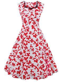 $14.34 Vintage Printed Sweetheart Neck Sleeveless Dress For Women