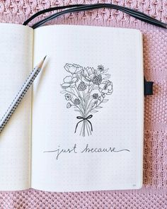 Bullet journal drawing idea, flower bouquet drawing.   @vedi_bits_and_pieces