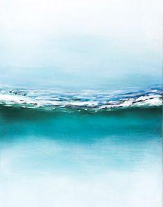 Pintura abstracta playa paisaje marino océano por NiksPaintGallery