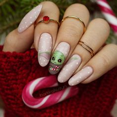 Disney Acrylic Nails, Disney Nails, Cute Acrylic Nails, Christmas Acrylic Nails, Disney Christmas Nails, Christmas Nail Designs, Christmas Design, Cute Nail Art, Cute Nails