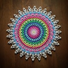 Lotus Mandala Flower Doily By Camilla Lindberg - Free Crochet Pattern - (crochetmillan) Crochet Mandala Pattern, Crochet Circles, Doily Patterns, Crochet Squares, Camilla, Mandalas Drawing, Crochet Potholders, Crochet Motif, Crochet Edgings