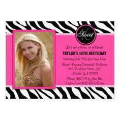 Chic Pink and Black Zebra Print Sweet 16, Photo Invite.  $1.90