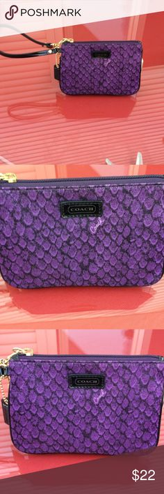Coach wristlet new with out tags Coach wristlet new with out tags purple with black patent leather trim. 8/20/17 Coach Bags Clutches & Wristlets